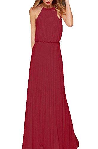 Abito lungo donna elegante - landove vestito senza maniche estivo vestiti di chiffon boho abiti da sera cerimonia cocktail spiaggia mare festa