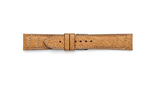 Cinturino in cuoio lavorato con doppia cucitura in contrasto (22-20,...