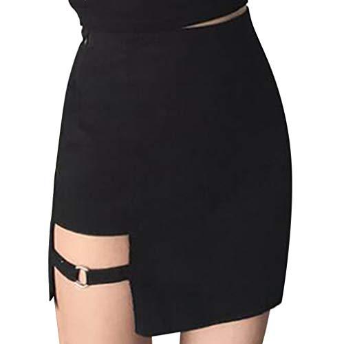 Gusspower Mini Falda Corta para Mujeres Moda A-lìnea Cuero Sexy Cintura Alta Hendidura Vestidos Color Sólido Bodycon Casual Falda de Tubo para Cóctel Fiesta Club