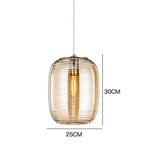 Zylinder gestreiften Glas Kronleuchter Wohnzimmer Cafe Restaurant Single Bar @ 110-240V_Amber -