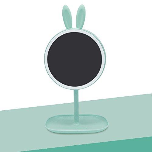 Make-up-Spiegel Desktop laden mit Licht spiegel Kosmetikspiegel Viertel LED-Streifen Licht Geschenkideen für Mädchen, grün Mini rabbit - Runde (Make-up Mini-handtasche Drucken)
