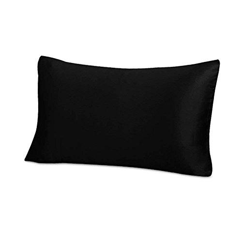 THXSILK 25 Momme Seide Kissenbezug für Haar und Haut - Maulbeerseide Kissenbezüge - Hypoallergen mit Reißverschluss Seidenkissenbezug - Pure Seide auf Beide Seiten - Schwarz 40x80cm