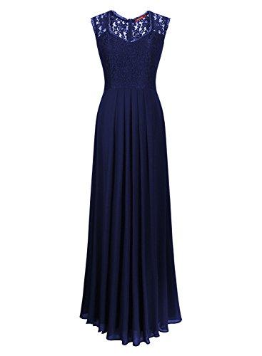 Miusol Damen Aermellos V-Ausschnitt Spitzenkleid Brautjungfer Cocktailkleid Chiffon Faltenrock Langes Kleid Dunkelblau Groesse 44/46/XL -