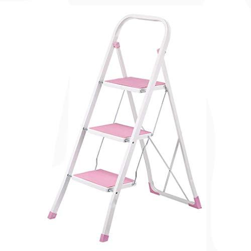 SHLDTZ Taburete de Escalera Taburete de 3 Pasos Antideslizante Pedal de casa de Tres Pasos Escalera Plegable de Doble Uso para Uso Interior Multifuncional (Color : Pink): Amazon.es: Hogar