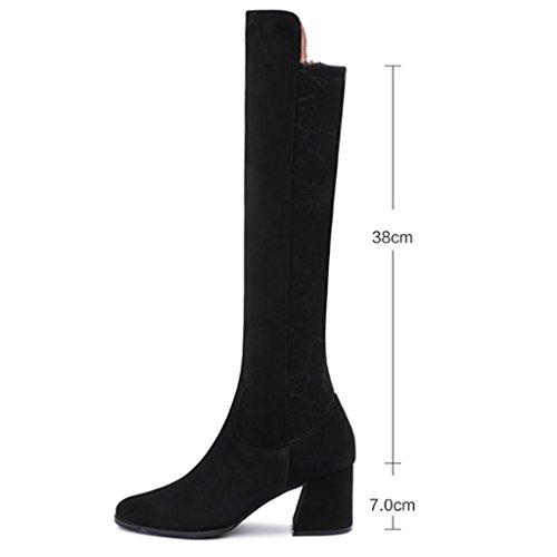 Le signore Stivali al ginocchio Da donna Stivali Autunno E Inverno Ruvido con Martin stivali Femmina Tubo lungo stivali , black , 32 BLACK-41