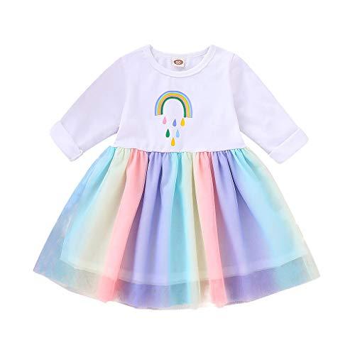 Lazzboy Kleinkind Baby Mädchen Langarm Regenbogen Print Tutu Kleid Kleidung Tulle Geburtstag Cosplay Party Fantasie Blumen Prinzessin Kleider(Weiß,Höhe:100) (Kleinkind Unterwäsche Mermaid)