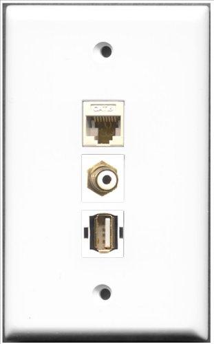 RiteAV-1Port Cinch weiß 1port USB A-A + 1Port Cat6Ethernet weiß Wall Plate Decora Insert Flush