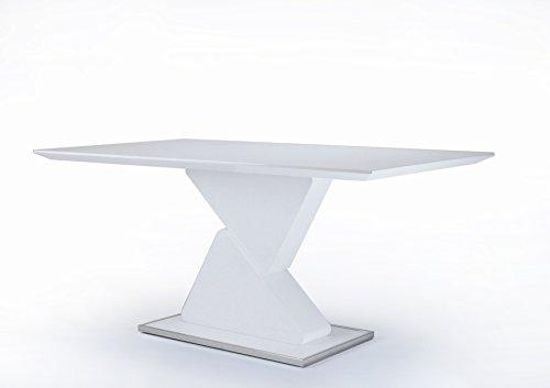 CAVADORE Esszimmertisch CUBE / Moderner Esstisch in Hochglanz Weiß mit viel Beinfreiheit / Küchentisch mit formschöner Säule / Bodenplatte, Rand chromfarben / 140x90x76 cm (LxBxH)