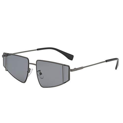Unregelmäßige Sonnenbrille Herren Damen Persönlichkeit Brillengestell Trendige Punk Wind Brillengestell Vintage Style Brille HOOPERT (Grau)
