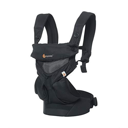 Ergobaby Babytrage bis 20kg, 360 Cool Air Mesh Onyx Black 4-Positionen Baby und Kindertrage