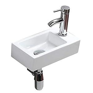 Mini lavabo de baño rectangular compacto para colgar en la pared, moderno y elegante lavabo de cerámica blanca para la ducha, al aire libre o en el restaurante