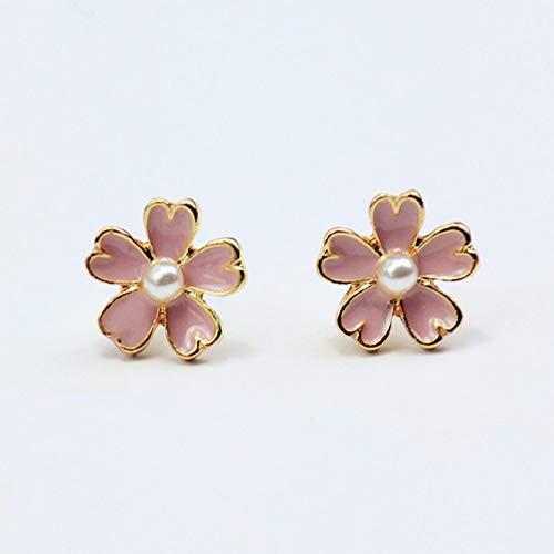 ERHUANEH NeueSchöne Rosa Blumen-Bolzen-Ohrringe Romantische Herz-Blumenblatt-Perlen-Ohrringe, Die Schmucksachen Wedding Sind Heißer Verkauf - Kristall-herz-bolzen-ohrringe