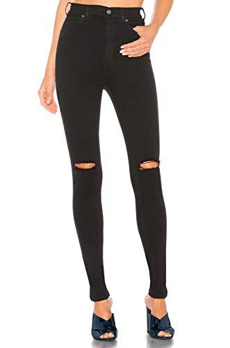 H hiamigos jeans strappati donna vita alta jeans skinny elasticizzati pantaloni in denim stretti legging elegante neri/bianco (nero strappato, 24/it 38)