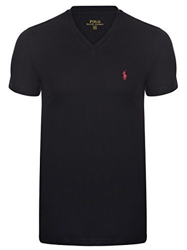 Ralph Lauren T-Shirt V-Neck Custom Fit schwarz (L) (Ralph Lauren Pferd)