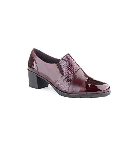 Pitillos - 5244 Zapato Abotinado Tacón Medio Burdeos