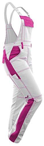 strongAnt® - Damen Arbeitshose Arbeits-Latzhose Weiß Pink für Frauen Malerhose komplett Stretch mit Kniepolstertaschen Baumwolle - Weiß-Pink 48