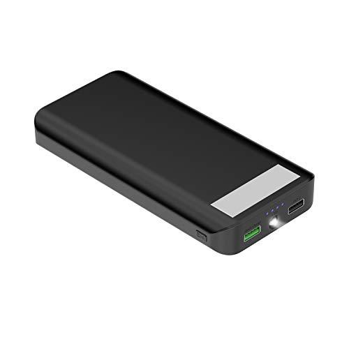 [Charge Rapide 3.0] Batterie Externe 20000mAh Batterie de Secours 2 Ports USB Chargeur Portable universel avec LED pour iPhone x/8/7/6S Samsung S8 +/S8 Andorid tablettes et plus Noir