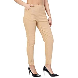 Pixie Women's Cotton Lycra Stretchable Slim Fit Straight Casual Chinos/Cigarette Pant for Girls_Ladies, Pack of 1, S, M, L, XL, XXL and XXXL