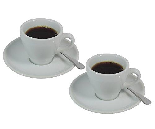 Viva Haushaltswaren - 2 x dickwandige Espressotasse aus weißem Porzellan, 2er Set 90 ml Tasse für Espresso in Weiß (inkl. 2 Espressolöffeln & 2 Untertassen)