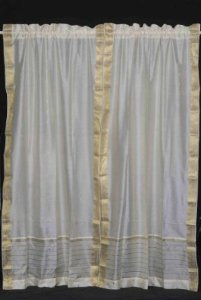 Sheer Tube Top (Indian Selections Sari Vorhang/Vorhang, cremefarben 43 X 84 Inches (109 X 213 Cms) Cream: No Lining)
