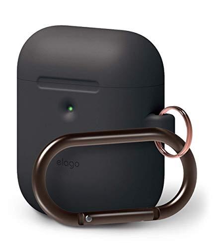 elago A2 Silikonhülle kompatibel mit Apple AirPods 2 Wireless Hülle (LED an der Frontseite sichtbar) - [Unterstützt kabelloses Laden] [Extra Protection] (mit Karabiner, Schwarz)