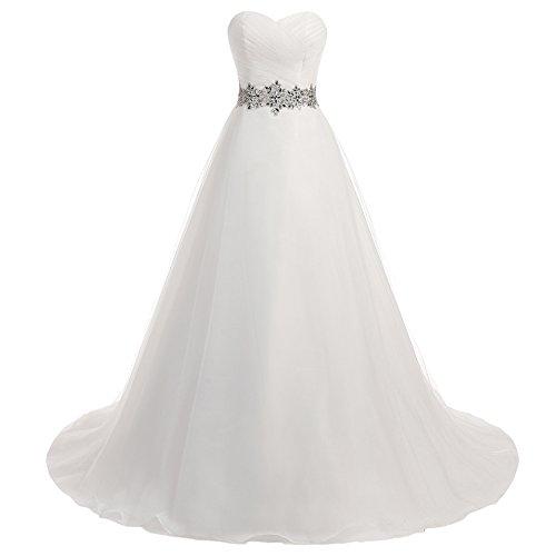 Brautkleider Damen Hochzeitskleider Lang A Linie Brautmode Strand Tüll mit Strass Elfenbein EUR58