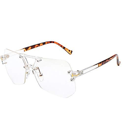 Sonnenbrille,Rahmenlose Sonnenbrille Weibliche Persönlichkeit Tide Star'S New Sport Sonnenbrille Männer Uv-Schutz Leopard Transparent