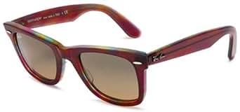 Ray Ban Rb2140 Original Wayfarer Striped Red-Blue Frame/Blue Gradient Yellow Lens Plastic Sunglasses, 50mm