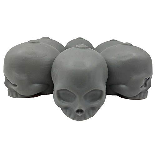 (3D Schädel Silikon Eiswürfelform Fach Party Wiederverwendbare Runde Eiswürfelbereiter Cocktail EIS Ball Barware, 6 Schädel Gesichter Grau)