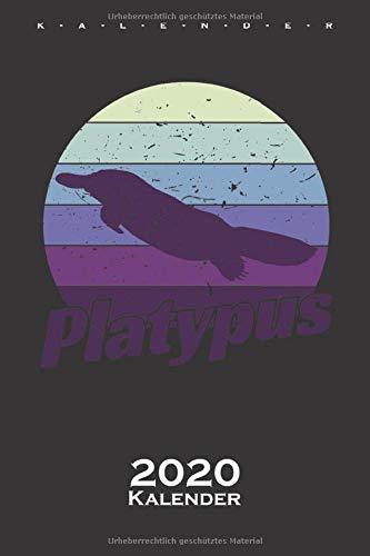 Platypus im Retro Style Kalender 2020: Jahreskalender für Tierfreunde und Fans des eierlegenden Säugetiers aus Australien