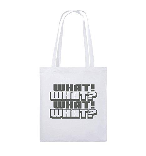 Comedy Bags - WHAT! WHAT! WHAT! WHAT! - Jutebeutel - lange Henkel - 38x42cm - Farbe: Schwarz / Pink Weiss / Grau