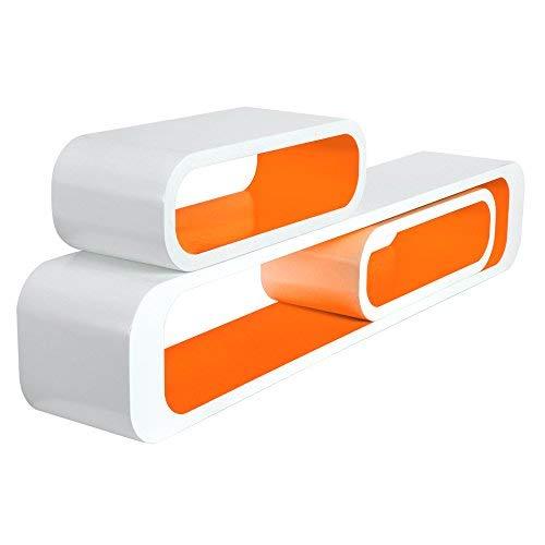 Woltu rg9230or-a mensole da muro per cameretta mensola a cubo scaffale parete legno mdf moderno 3 pezzi diametro diverso arancio-bianco