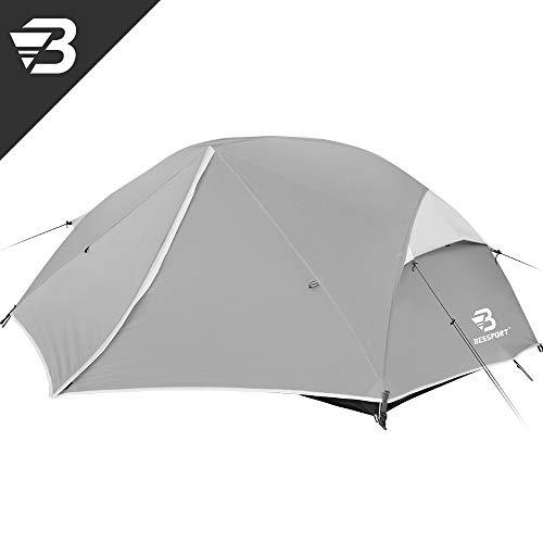 Bessport Tent de Camping 2 Personnes, Easy Up Instant Dome Tentes Ultra Légère, Camping Gear étanche [2 Portes] Grande Famille Tente avec Sac de Transport pour Randonnée Plage Extérieur (Grey)