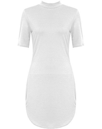 Desire Clothing robe à manches courtes Polo Col Roulé incurvé Tunique robe Midi 8-26 Blanc