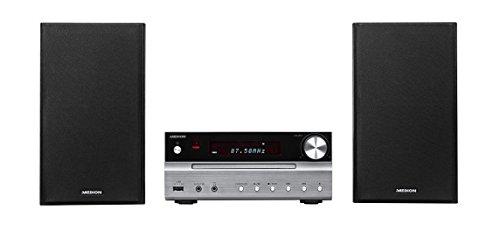 MEDION P66063 Micro-HiFi-Kompaktanlage (Bluetooth 3.0, CD-Player, USB Anschluss, MP3 Wiedergabe, UKW Stereo Radio, XBass-Funktion, Metallgehäuse) Silber/Schwarz