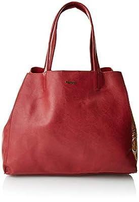 Desigual - Bols_rosso Cuenca, Shoppers y bolsos de hombro Mujer, Rojo (Carmin), 16.5x30x37.5 cm (B x H T) de Desigual