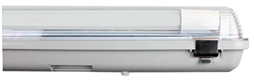 Müller-Licht LED-Feuchtraumleuchte 150 cm für höchsten Lichtkomfort - schönes neutralweißes Licht (4000 K) für optimale Arbeitsbeleuchtung - 2 x 24 W LED-Röhre - IP65 - grau