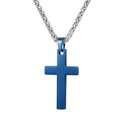 PROSTEEL Kreuzanhänger Edelstahl Christlich Kreuz Halskette Minimalist Unisex Halskette für Männer Frauen Jungen Mädchen, Blau-L