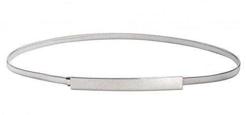 WODISON Damen Dünner Gold Verriegelung Gürtel Schmal Metall Elastischer Taillengürtel Hüftgürtel für Kleider, Silber, S(26inches-28inches)