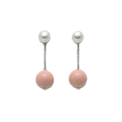 Miluna - Orecchini pendenti Miluna in argento 925% con perle e corallo rosa