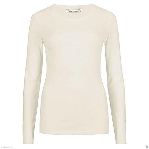 Janisramone Womens Ladies New Round Neck Long Sleeve Plain Casual