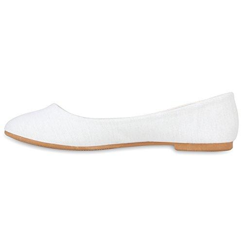 Damen Ballerinas Schuhe Halbschuh flache Schuhe Slipper Weiß Hellbraun