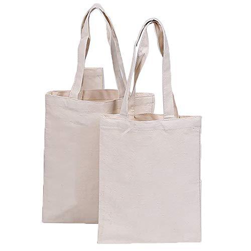 Segeltuch Einkaufen Tragetaschen Wiederverwendbare Einkaufstüten Dauerhaft Waschbar Produce Bags Eco Friendly Shopper zum Bedrucken von 2 Stück (Color : White, Size : M) - Dauerhafte Luggage Bag Tag