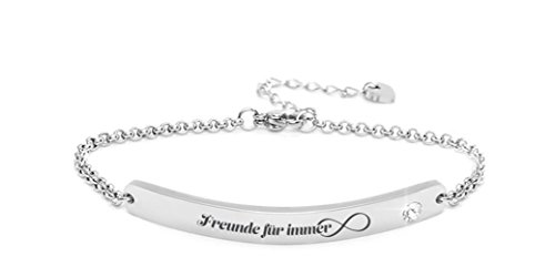 """Silvity Damen Gravur-Armband Edenlstahl veredelt mit einem Swarovski¨ Kristall 16,5 cm bis 20,5 cm Frabe: Silber (Motiv:""""Freunde für immer"""")"""