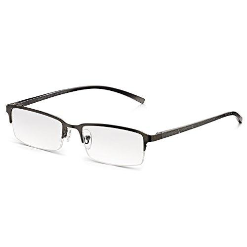 Read Optics Herren Lesebrille: Moderne rechteckige Halbrandbrille aus Edelstahl. Mit entspiegelten Premium DifuzerTM Gläsern mit UV Schutz. Hochqualitative Brille ohne Verschreibung in Stärke +1,25