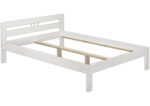 Erst-Holz® Einzelbett weiß Bettgestell Kiefer massiv Jugendbett 120x200 Futonbett ohne Rollrost 60.64-12 W oR