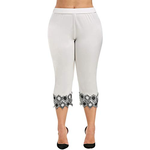 Yvelands Damen Yoga Hosen Mode Lässig Elastische Taille Plus Size High Waisted Applique Leggings Pant(Weiß,XXXL)