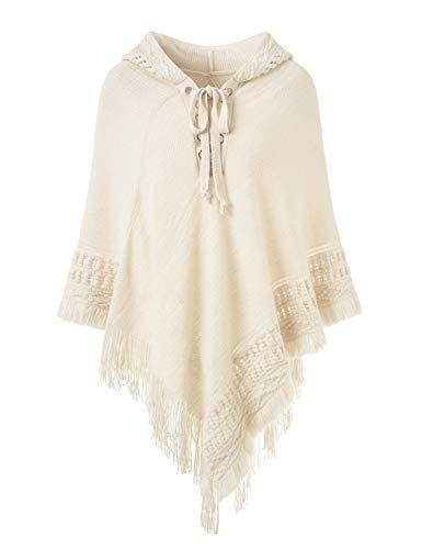 Ferand Punto ganchillo cordón Poncho capucha suéter