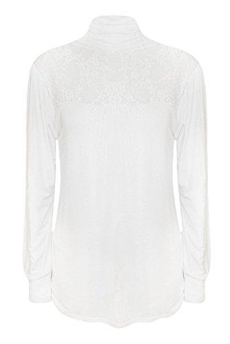 Weiße (Lace, Polo Blouse) elegante, Rollkragen Bluse. Gr 46/48