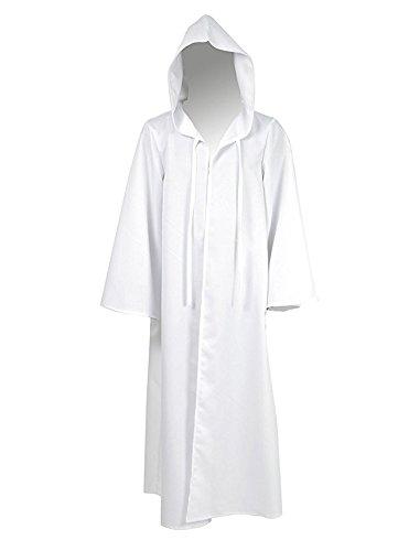 Tiny Time Herren Ritter Cosplay Kostüm Robe Bunt Halloween Mantel Outfit (Herren-XXL, Weiß)